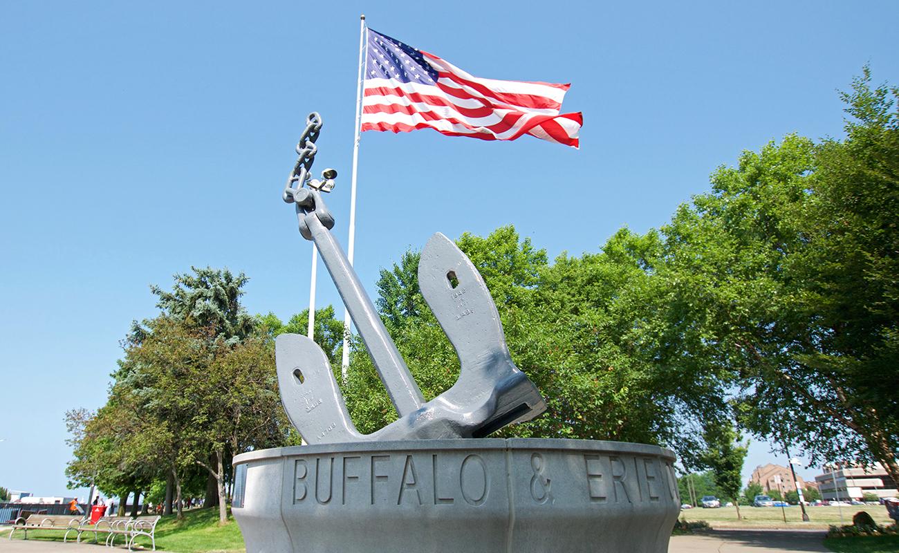 Buffalo Naval Park, Military History, Monument, American Flag